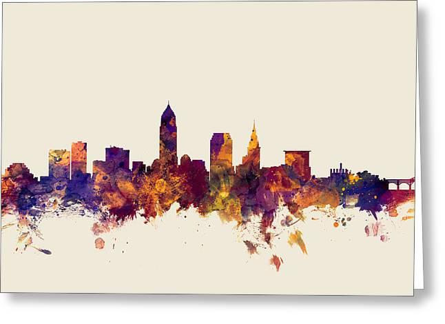Usa Digital Greeting Cards - Cleveland Ohio Skyline Greeting Card by Michael Tompsett
