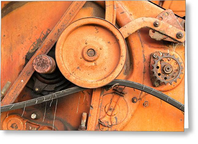 Mechanism Photographs Greeting Cards - Close-up of Old Red Harvester Cogs Greeting Card by John Williams