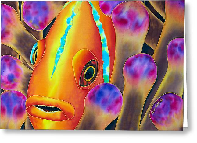 Print Tapestries - Textiles Greeting Cards - Clown Fish Greeting Card by Daniel Jean-Baptiste