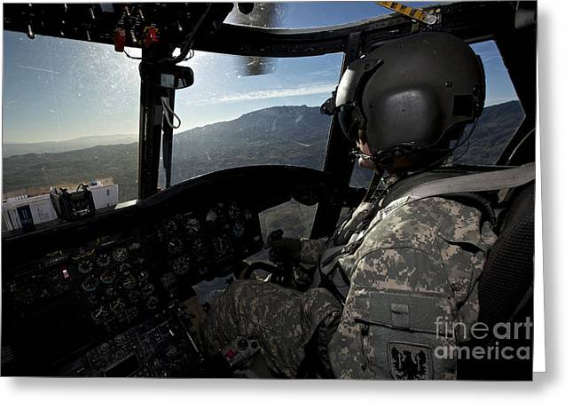 Man Ray Greeting Cards - Co-pilot Flying A Ch-47 Chinook Greeting Card by Terry Moore