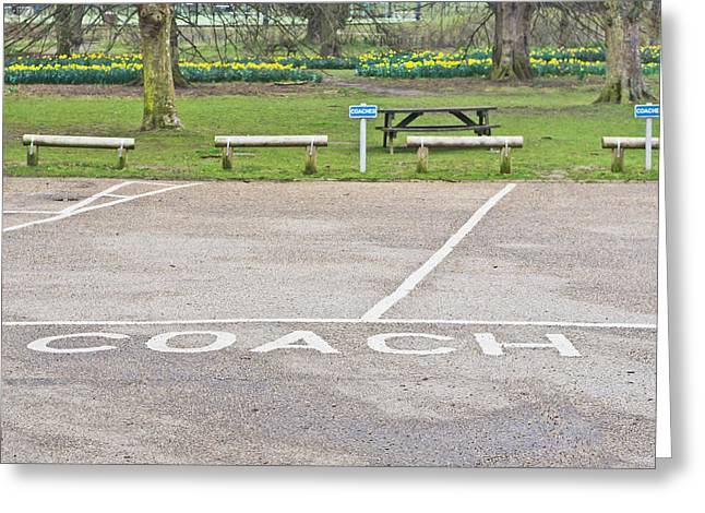 Bus Signs Greeting Cards - Coach parking Greeting Card by Tom Gowanlock