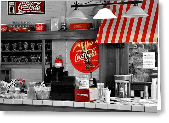 Soft Drink Greeting Cards - Coca Cola Greeting Card by Todd Hostetter