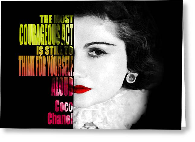 Jewelry Bag Greeting Cards - Coco Chanel quotes Greeting Card by Nostalgic Art