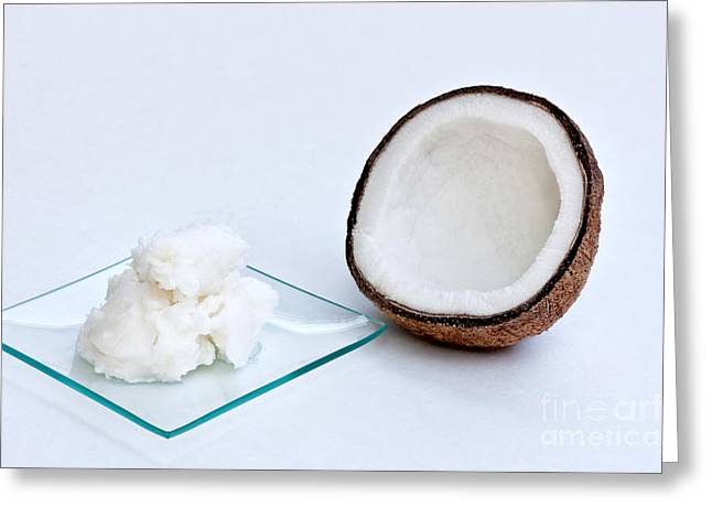 Moisturizer Greeting Cards - Coconut Oil And Coconut Greeting Card by Inga Spence