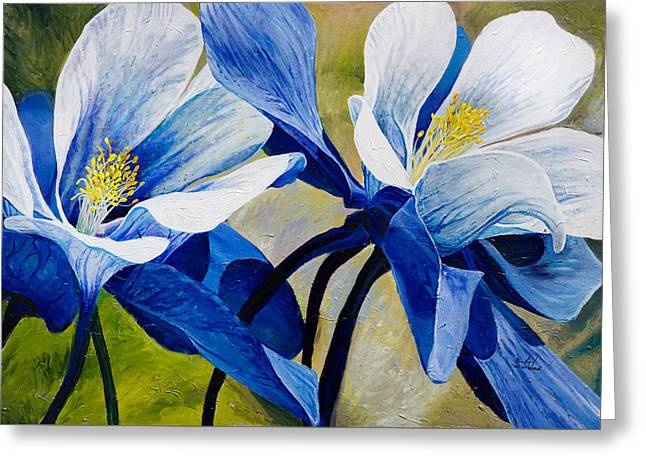 Realistic Paintings Greeting Cards - Colorado Columbines Greeting Card by Aaron Spong