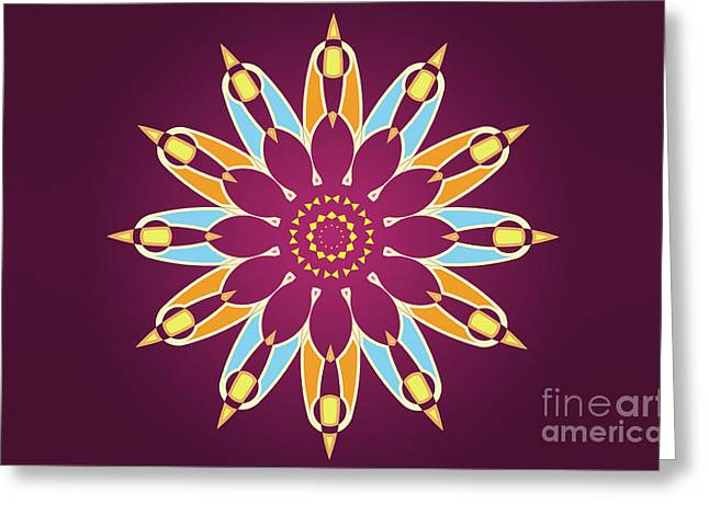 Colorful Abstract Star On Purple Background Greeting Card by Pablo Franchi