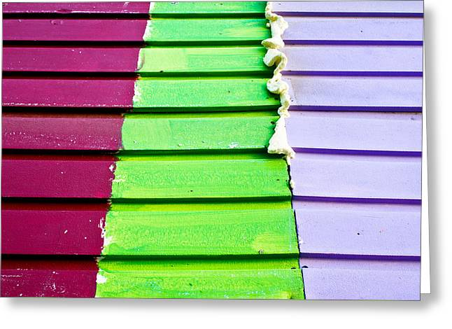 Adhesive Greeting Cards - Colorful wood Greeting Card by Tom Gowanlock