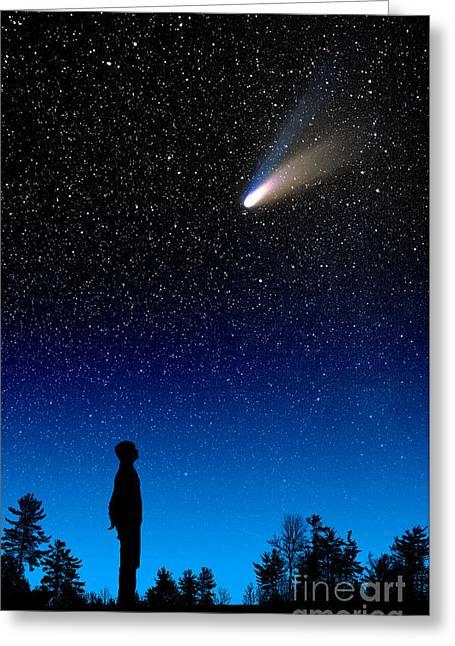 Hale-bopp Comet Greeting Cards - Comet Hale-bopp Greeting Card by Larry Landolfi