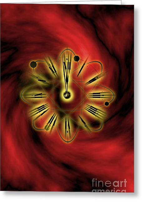 Red Hourglass Greeting Cards - Conceptual Illustration Of Atomic Clock Greeting Card by George Mattei