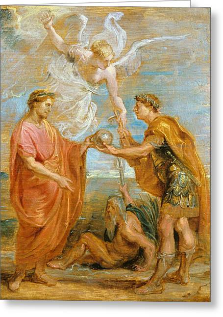 Constantius Appoints Constantine As His Successor Greeting Card by Peter Paul Rubens