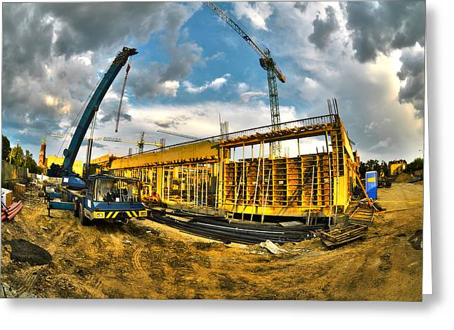 Apartment Greeting Cards - Construction site Greeting Card by Jaroslaw Grudzinski