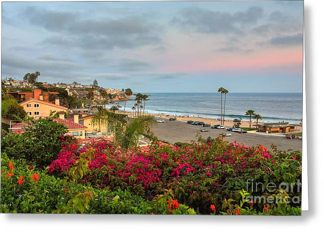 Corona Del Mar At Dusk Greeting Card by Eddie Yerkish
