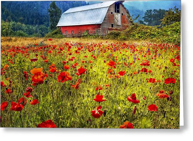 Red Roofed Barn Greeting Cards - Country Charm Greeting Card by Debra and Dave Vanderlaan