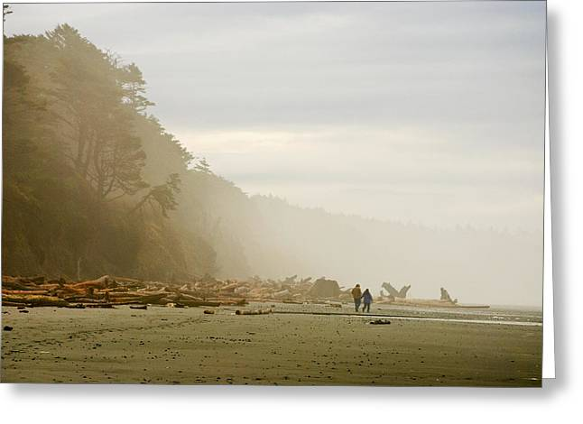 Foggy Ocean Greeting Cards - Couple on a Foggy Beach Greeting Card by Wilbur Young