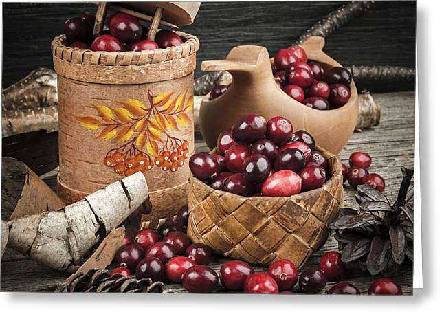 Square Format Greeting Cards - Cranberries still life Greeting Card by Elena Elisseeva