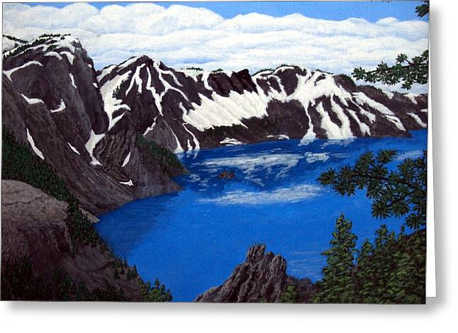 Crater Lake Artwork Greeting Cards - Crater Lake Greeting Card by Frederic Kohli
