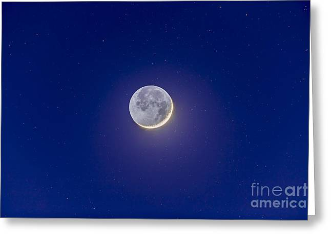 Waxing Crescent Greeting Cards - Crescent Moon With Earthshine Greeting Card by Alan Dyer