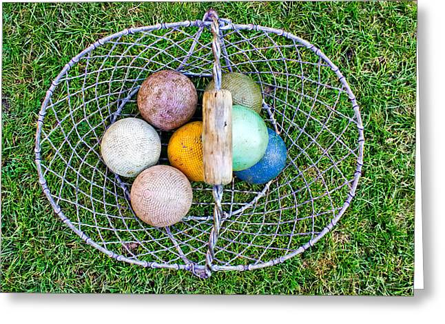 Croquet Balls Greeting Card by Tom Gowanlock