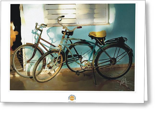 2 Cuban Bicycles Greeting Card by Bob Salo
