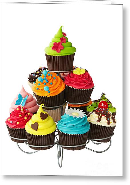 Cup Cakes Greeting Cards - Cupcake stand Greeting Card by Ruth Black