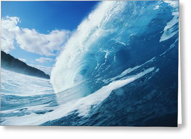 Conditions Greeting Cards - Curling Wave Greeting Card by Ali ONeal - Printscapes