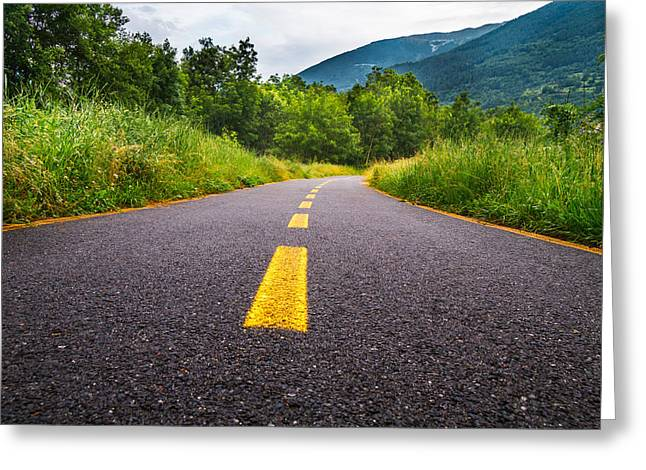 Mountain Road Greeting Cards - Cycle lane Greeting Card by Andrea Casali