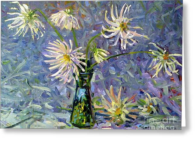 Dahlias Greeting Card by Donald Maier