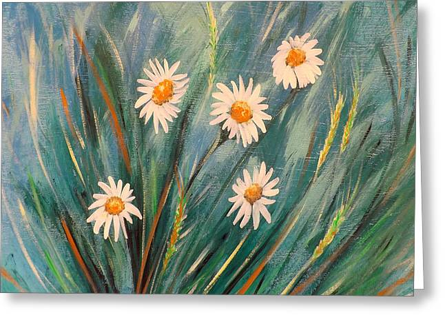 Gorna Greeting Cards - Daisies Greeting Card by Gina De Gorna