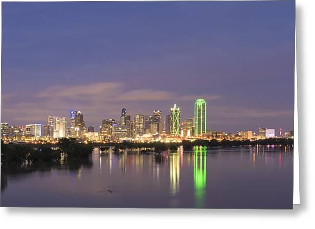 Metroplex Greeting Cards - Dallas Skyline Twilight Greeting Card by Jonathan Davison