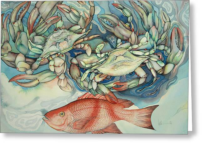 Snapper Paintings Greeting Cards - Dance Macabre Greeting Card by Liduine Bekman