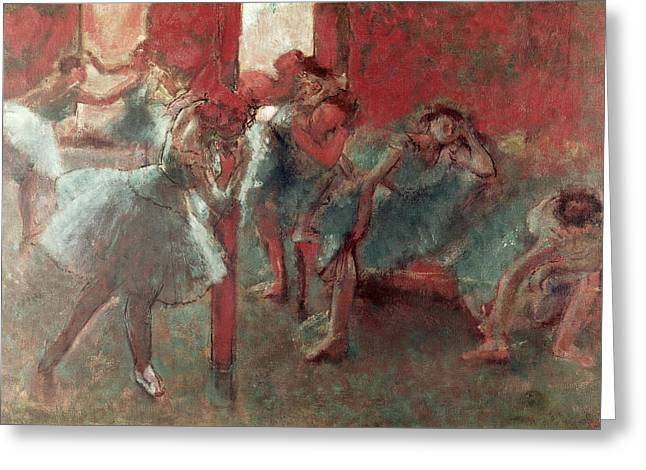 Dance Pastels Greeting Cards - Dancers at Rehearsal Greeting Card by Edgar Degas