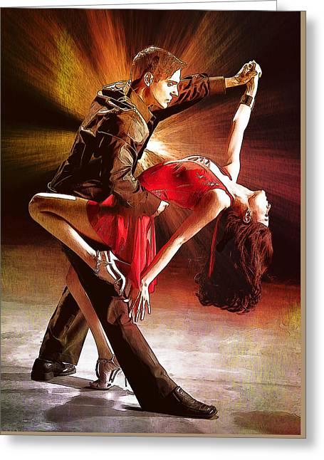 Dance.tango. Greeting Card by Elena Kosvincheva