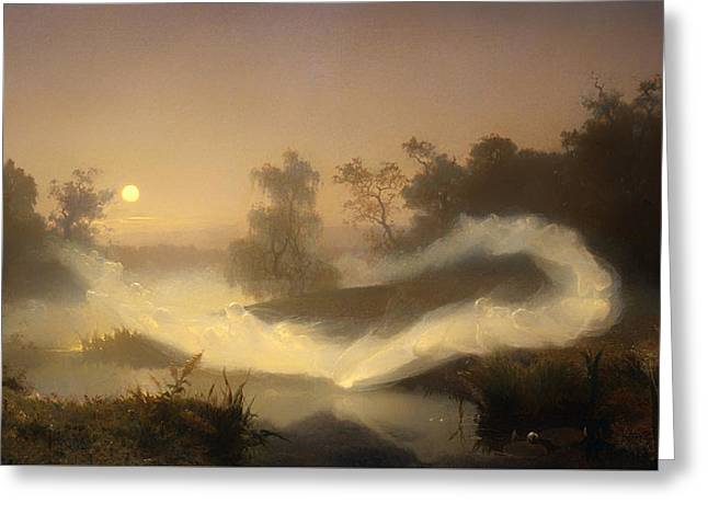 Mystical Moons Greeting Cards - Dancing Fairies Greeting Card by August Malmstrom