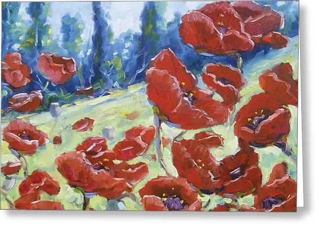 Dancing Poppies Greeting Card by Richard T Pranke