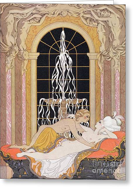 Couch Greeting Cards - Dangerous Liaisons Greeting Card by Georges Barbier