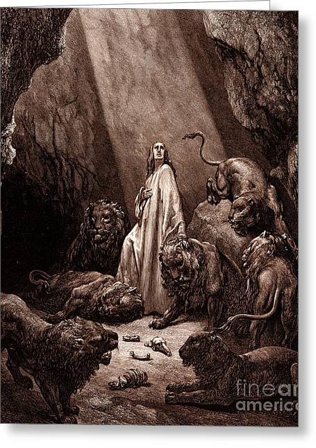 Religious Drawings Greeting Cards - Daniel in the Den of Lions Greeting Card by Gustave Dore