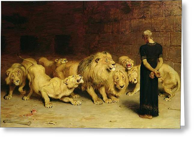 Daniel In The Lion's Den Greeting Card by Briton Riviere