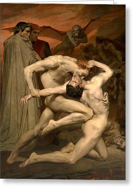 Dante And Virgil In Hell  Greeting Card by William-Adolphe Bouguereau