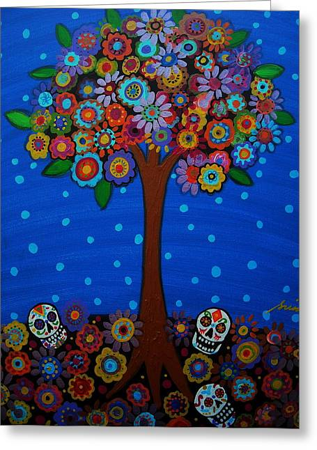 Mexican Flowers Greeting Cards - Day Of The Dead Greeting Card by Pristine Cartera Turkus