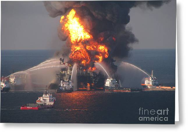 Deepwater Horizon Fire, April 21, 2010 Greeting Card by Science Source