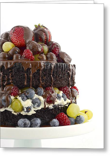 Tabletop Greeting Cards - Deliciously divine chocolate cake with berries and cream.  Greeting Card by Milleflore Images