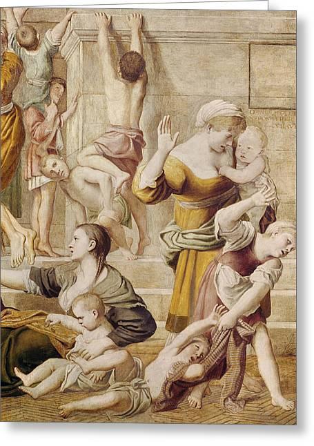 Detail Of Saint Cecilia Distributing Alms Greeting Card by Domenichino