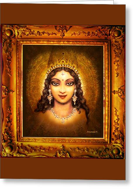 Goddess Print Greeting Cards - Devi Darshan Greeting Card by Ananda Vdovic
