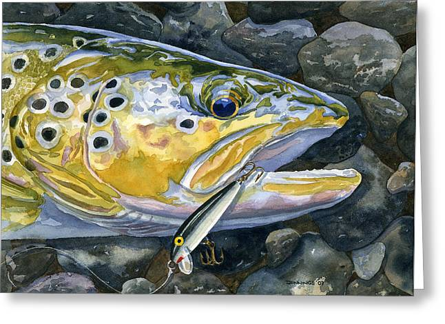 Trout Fishing Greeting Cards - Dinner Gone Bad Greeting Card by Mark Jennings