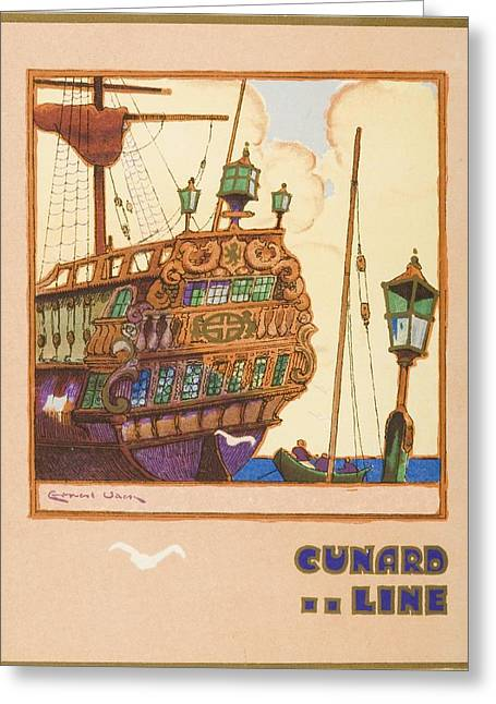 Boat Cruise Drawings Greeting Cards - Dinner Menu. Cunard Line. R.m.s Greeting Card by Vintage Design Pics
