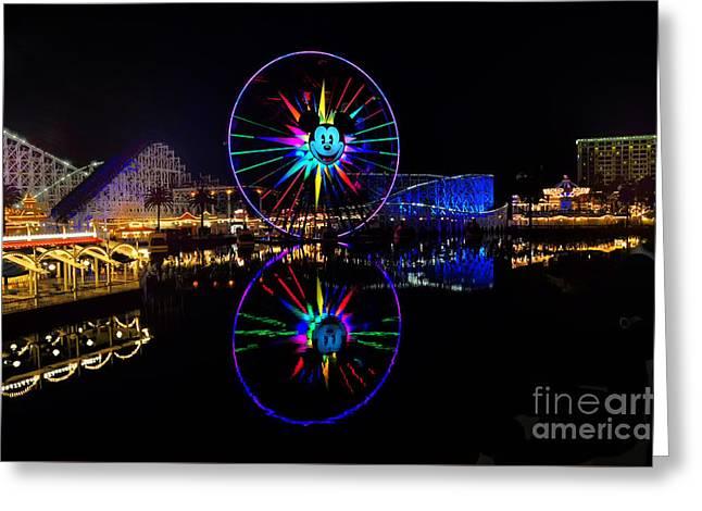 Paradise Pier Greeting Cards - Disney California Adventure Mickeys Fun Wheel Greeting Card by Peter Dang