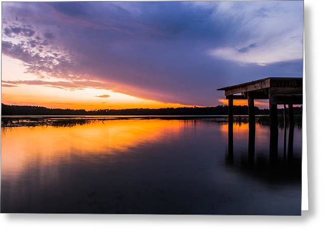 Gainesville Greeting Cards - Dock Sunset Greeting Card by Parker Cunningham
