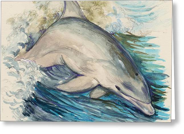 Sea Animals Mixed Media Greeting Cards - Dolphin Greeting Card by Morgan Fitzsimons