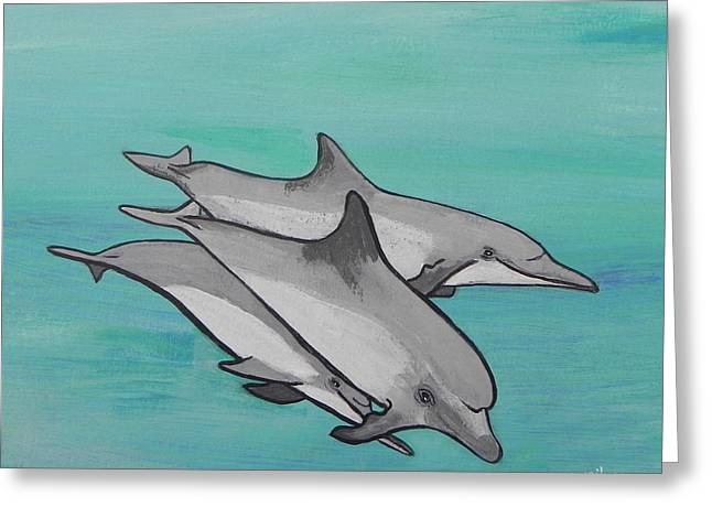 Melbourne Beach Greeting Cards - Dolphins Greeting Card by W Gilroy