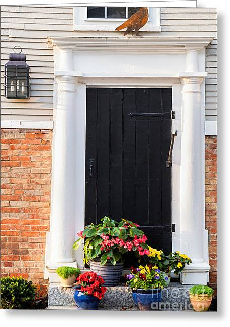 Flag Of Usa Greeting Cards - Doors of Portsmouth New Hampshire Greeting Card by Dawna  Moore Photography